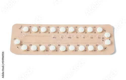 Papiers peints Pharmacie Colorful oral contraceptive pill strips isolated on white background with clipping path. birth control pill - healthcare and medicine. Strip of Contraceptive Pill with English Instructions.