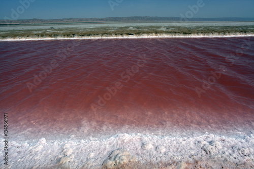 Fotobehang Bordeaux landscape - red salty lake in Africa