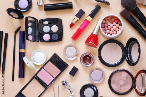 Poster Set cosmetics - makeup brushes, eye shadow, powder, lipstick, nail polish
