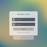 creative member login box interface design on blurred background