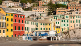 Typical colored houses in the seafront of Bogliasco, near Genoa