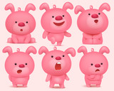 Pink bunny emoji characters set with different emotions