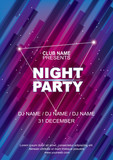 Fototapety Night party poster template, Abstract blue pink background.