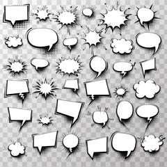Big set 36 blank effects template comic speech bubbles halftone dot background style pop art. Comic dialog empty cloud, space text style pop art. Creative idea conversation comic sketch explosion