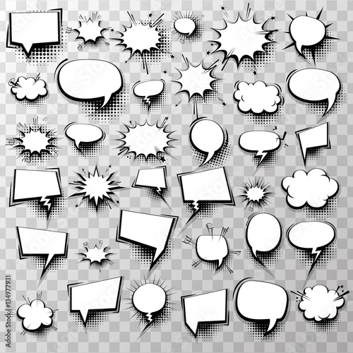 Plexiglas Pop Art Big set 36 blank effects template comic speech bubbles halftone dot background style pop art. Comic dialog empty cloud, space text style pop art. Creative idea conversation comic sketch explosion