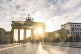 Berlin Brandenburg gate at sunset, long exposure