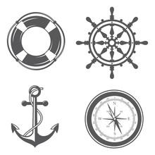 Nautical  Of Anchor Ship Helm Lifebuoy And Compass Sticker