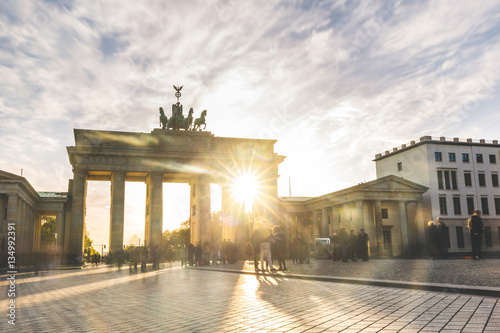 Berlin Brandenburg gate at sunset, long exposure Poster