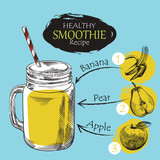 Hand drawn smoothie recipe isolated on blue background. Banana, apple, pear smoothie sketch elements. Eco healthy ingredients vector illustration. Great for poster, banner, voucher, coupon. - 134995597