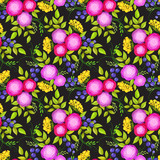 Seamless pattern with bright decorative pink roses - 134996121