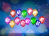 Happy Birthday lettering Poster with Shiny coloured Balloons wit