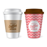 Paper coffee cup realistic vector illustration for mock up desig
