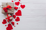 Valentine's Day. presents, heart felt and decor on wooden background - 135004183