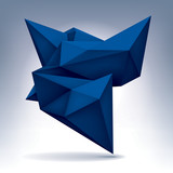 Volume blue geometric shape, 3d crystal, abstraction low polygons object, vector design form