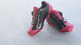 Cycling shoes red.