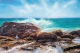 Beautiful seashore with big stones