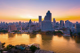 Bangkok city skyline with Chaophraya river view.