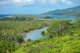 French Polynesia Huahine lagoon and islands landscape, East coast, south Pacific ocean, Leeward islands