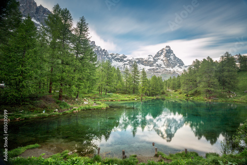 Cervinia Breuil, Valle d'Aosta, Italy. A view of Lake Blue. Poster