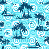 Exotic Seamless Pattern, Tropical Ocean Landscape, Islands with Palms Trees, Ships Sailing and Birds Seagulls Silhouettes on Abstract Tile Background with Spirals and Lines. Eps10 Vector