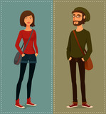 young cartoon people in hipster fashion