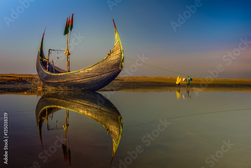 Poster, Tablou Fishing Boat  waiting to sail on sea