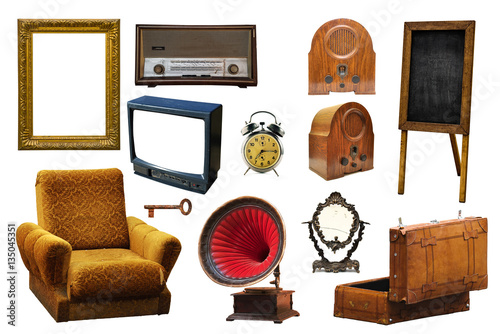 Poster Collection of vintage retro home related objects isolated on whi