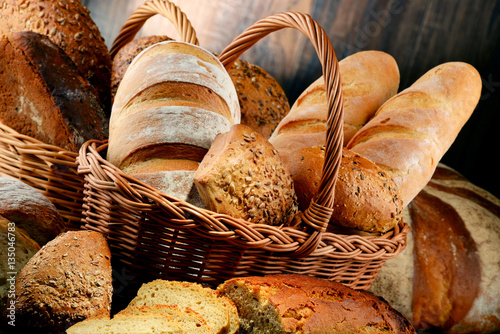 Fototapeta Composition with variety of baking products on wooden table