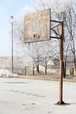 Basketball court with old boards and hoops