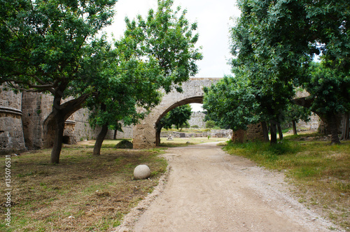Rhodos fortress inner yard with ark and trees