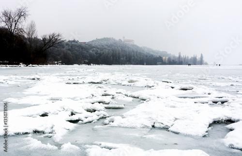 Lake Balaton in winter time at Tihany, Hungary Poster