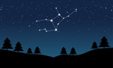 Vector illustration of Virgo constellation on the background of starry sky and night landscape