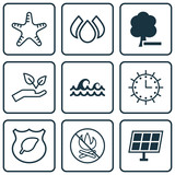 Set Of 9 Ecology Icons. Includes Sun Power, Save World, Aqua And Other Symbols. Beautiful Design Elements.