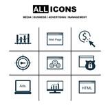 Set Of 9 Marketing Icons. Includes Website, Keyword Optimisation, PPC And Other Symbols. Beautiful Design Elements.