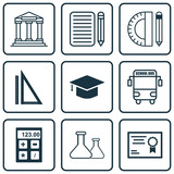 Set Of 9 Education Icons. Includes Electronic Tool, Graduation, Home Work And Other Symbols. Beautiful Design Elements.