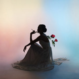 Silhouette elegant woman on colors background
