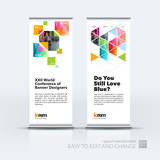 Abstract business vector set of modern roll Up Banner stand desi
