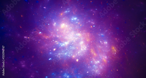 Purple glowing nebula in space