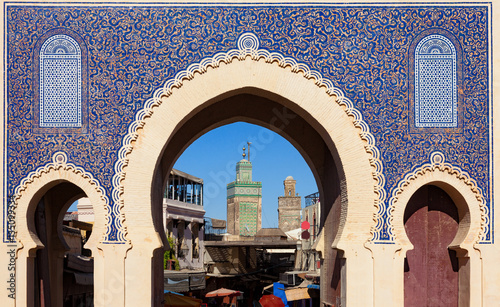 Foto op Canvas Marokko Bab Bou Jeloud gate (or Blue Gate) in Fez el Bali medina, Morocco