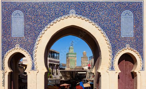 Deurstickers Marokko Bab Bou Jeloud gate (or Blue Gate) in Fez el Bali medina, Morocco