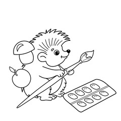 Coloring Page Outline Of cartoon hedgehog with brushes and paints. Coloring book for kids