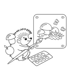 Coloring Page Outline Of cartoon hedgehog with picture of mushrooms with brush and paints. Coloring book for kids