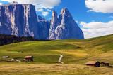 Jagged rocks around mountain valley
