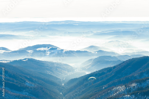 Beautiful valley with gentle haze above it Poster