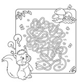 Cartoon Vector Illustration of Education Maze or Labyrinth Game for Preschool Children. Puzzle. Tangled Road. Coloring Page Outline Of squirrel with mushrooms. Coloring book for kids.