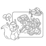 Cartoon Vector Illustration of Education Maze or Labyrinth Game for Preschool Children. Puzzle. Tangled Road. Coloring Page Outline Of squirrel with with nuts. Coloring book for kids.