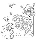 Cartoon Vector Illustration of Education Maze or Labyrinth Game for Preschool Children. Puzzle. Tangled Road. Coloring Page Outline Of hedgehog with basket of mushrooms. Coloring book for kids.