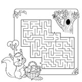 Cartoon Vector Illustration of Education Maze or Labyrinth Game for Preschool Children. Puzzle. Coloring Page Outline Of squirrel with basket of mushrooms. Coloring book for kids.