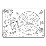 Cartoon Vector Illustration of Education Maze or Labyrinth Game for Preschool Children. Puzzle. Coloring Page Outline Of hedgehog with mushrooms. Coloring book for kids.