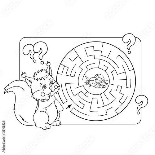 Cartoon Vector Illustration of Education Maze or Labyrinth Game for Preschool Children. Puzzle. Coloring Page Outline Of squirrel with nuts. Coloring book for kids.